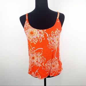 CAbi red orange floral tank top